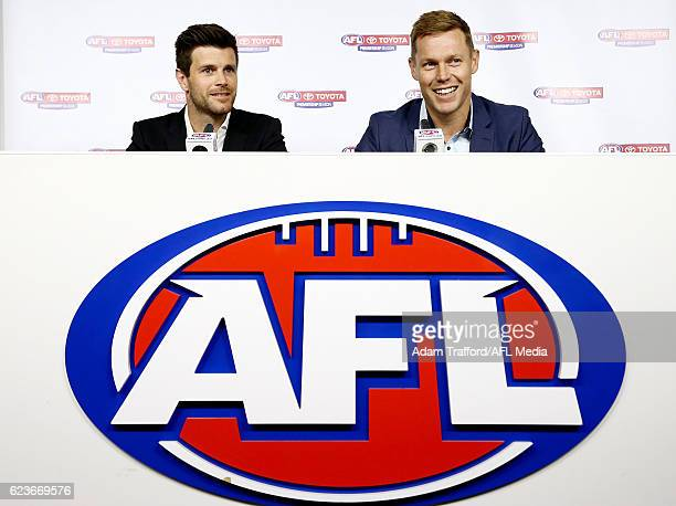 Trent Cotchin of the Tigers and Sam Mitchell of the Eagles address the media during a joint press conference after being awarded the 2012 Brownlow...
