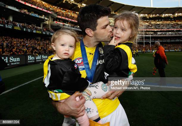 Trent Cotchin of the Tigers celebrates with his children during the 2017 Toyota AFL Grand Final match between the Adelaide Crows and the Richmond...