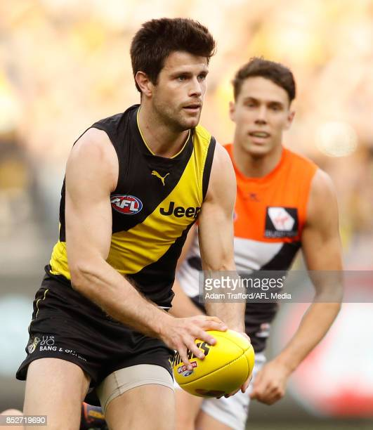 Trent Cotchin of the Tigers in action during the 2017 AFL Second Preliminary Final match between the Richmond Tigers and the GWS Giants at the...
