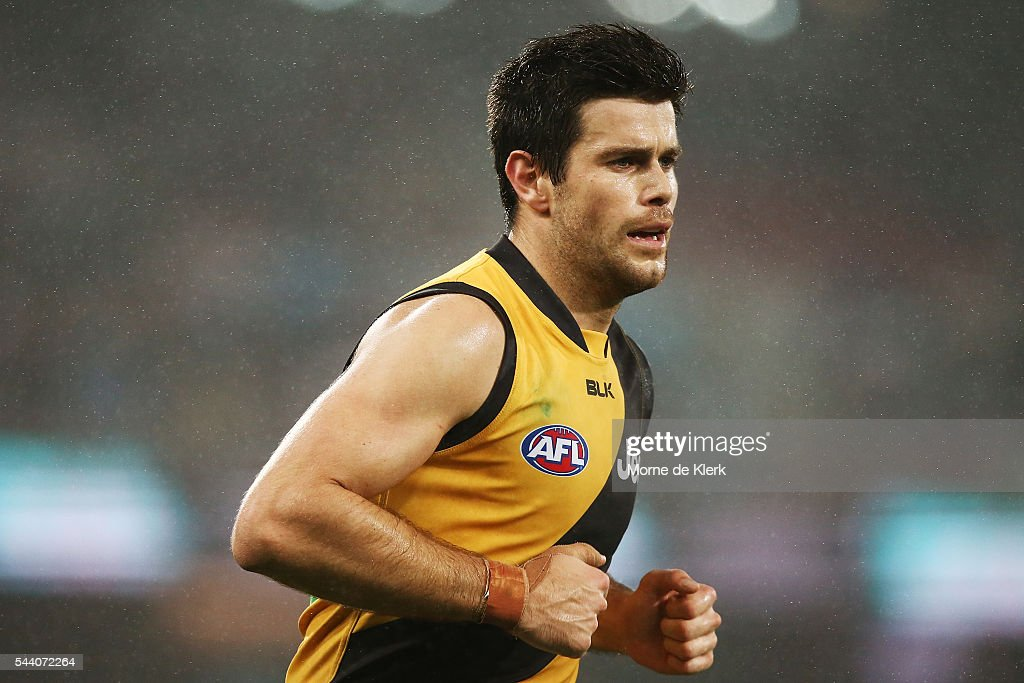 Trent Cotchin of the Tigers looks on during the round 15 AFL match between the Port Adelaide Power and the Richmond Tigers at Adelaide Oval on July 1, 2016 in Adelaide, Australia.