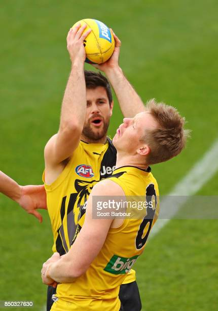 Trent Cotchin of the Tigers reacts as he accidentally hits Jack Riewoldt of the Tigers during a Richmond Tigers AFL training session at Punt Road...