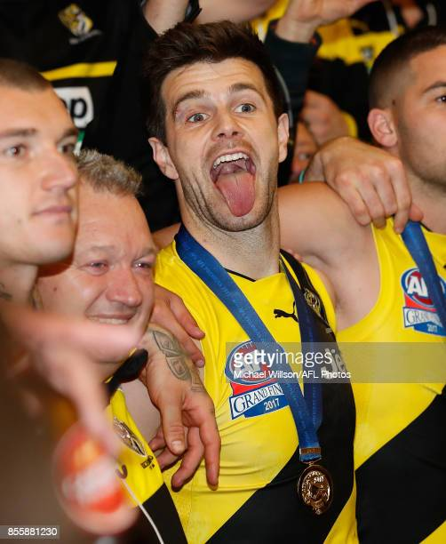 Trent Cotchin of the Tigers sings the team song during the 2017 Toyota AFL Grand Final match between the Adelaide Crows and the Richmond Tigers at...