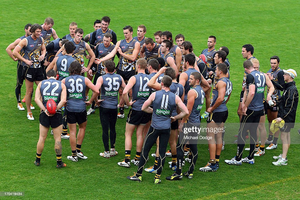 Trent Cotchin speaks to the players during a Richmond Tigers AFL training session at ME Bank Centre on June 13, 2013 in Melbourne, Australia.