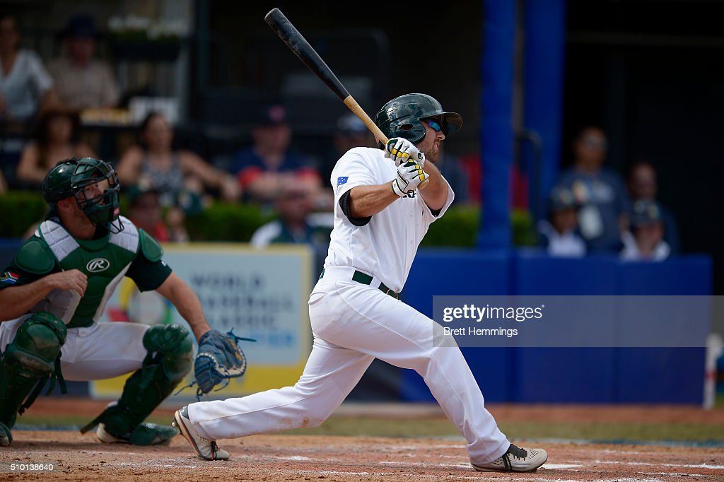 Trent D'Antonio of Australia bats during the World baseball Classic Final match between Australia and South Africa at Blacktown International Sportspark on February 14, 2016 in Sydney, Australia.
