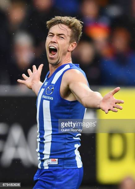 Trent Dumont of the Kangaroos celebrates kicking a goal during the round seven AFL match between the North Melbourne Kangaroos and the Adelaide Crows...
