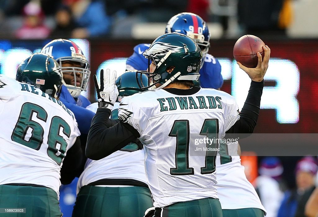 Trent Edwards #11 of the Philadelphia Eagles in action against the New York Giants at MetLife Stadium on December 30, 2012 in East Rutherford, New Jersey. The Giants defeated the Eagles 42-7.