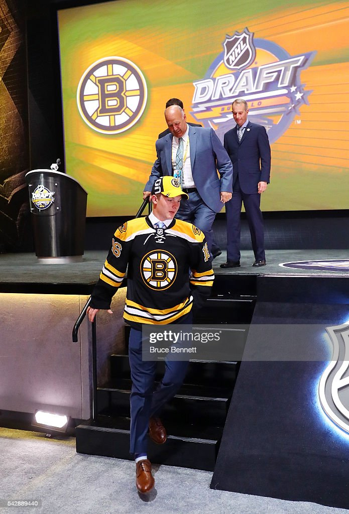 <a gi-track='captionPersonalityLinkClicked' href=/galleries/search?phrase=Trent+Frederic&family=editorial&specificpeople=15442672 ng-click='$event.stopPropagation()'>Trent Frederic</a> celebrates with the Boston Bruins after being selected 29th overall during round one of the 2016 NHL Draft on June 24, 2016 in Buffalo, New York.