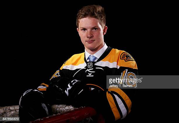 Trent Frederic poses for a portrait after being selected 29th overall by the Boston Bruins in round one during the 2016 NHL Draft on June 24 2016 in...