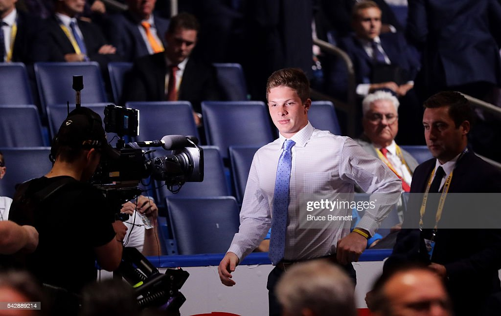 <a gi-track='captionPersonalityLinkClicked' href=/galleries/search?phrase=Trent+Frederic&family=editorial&specificpeople=15442672 ng-click='$event.stopPropagation()'>Trent Frederic</a> reacts after being selected 29th overall by the Boston Bruins during round one of the 2016 NHL Draft on June 24, 2016 in Buffalo, New York.