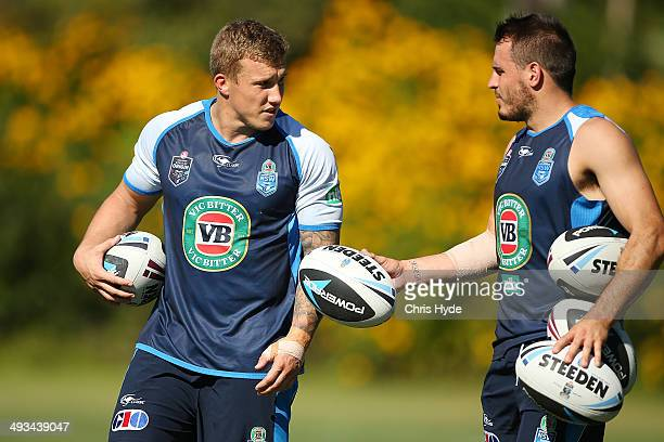 Trent Hodkinson and Josh Reynolds talk during a New South Wales Blues State of Origin training session on May 24 2014 in Coffs Harbour Australia