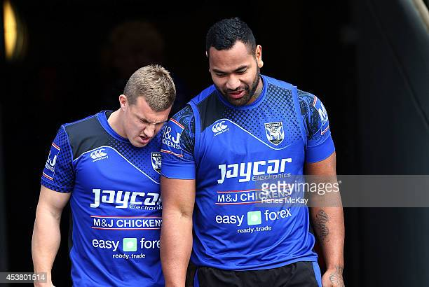 Trent Hodkinson and Tony Williams arrive at a Canterbury Bulldogs NRL training session at Belmore Sports Ground on August 19 2014 in Sydney Australia