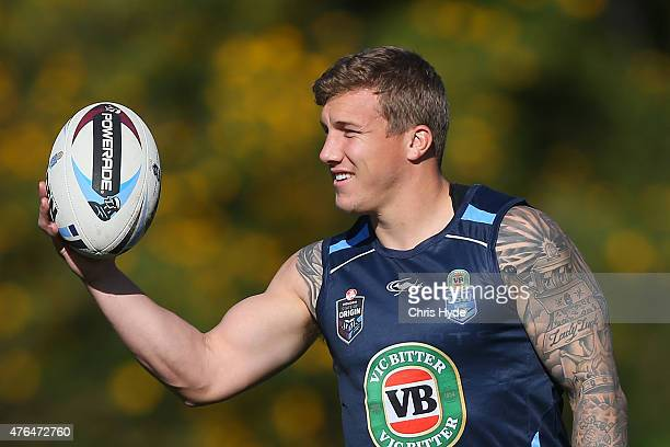 Trent Hodkinson holds the ball during the New South Wales Blues team training session at the Novotel on June 10 2015 in Coffs Harbour Australia