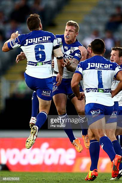 Trent Hodkinson of the Bulldogs celebrates his drop goal during the round 6 NRL match between the New Zealand Warriors and the CanterburyBankstown...