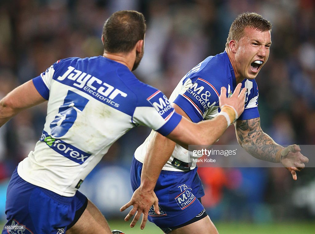 Trent Hodkinson of the Bulldogs celebrates victory after kicking the winning field goal in extra time golden point during the NRL 2nd Semi Final...