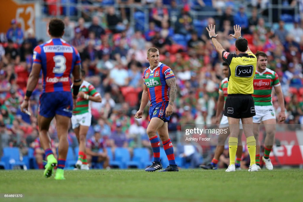Trent Hodkinson of the Knights sent off during the round three NRL match between the Newcastle Knights and the South Sydney Rabbitohs at McDonald Jones Stadium on March 18, 2017 in Newcastle, Australia.