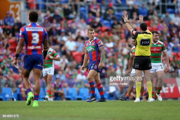 Trent Hodkinson of the Knights sent off during the round three NRL match between the Newcastle Knights and the South Sydney Rabbitohs at McDonald...