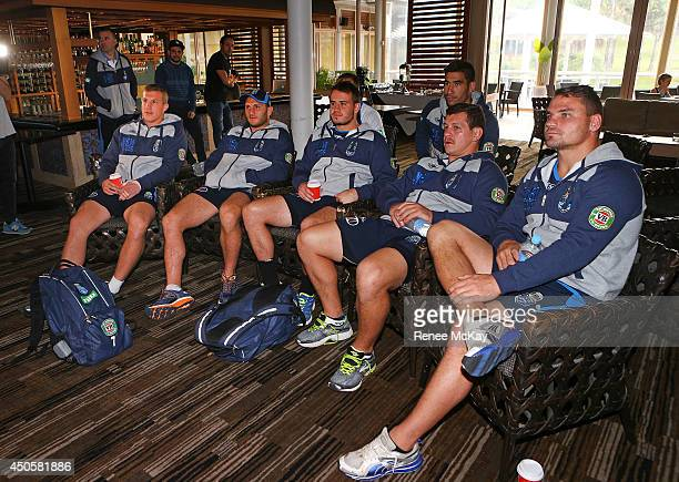 Trent Hodkinson Robbie Farah Josh Reynolds James Tamou Greg Bird and Anthony Watmough watch Australia take on Chile at the Soccer World Cup before a...