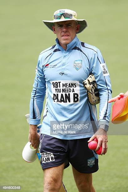 Trent Johnston coach of NSW looks on during day one of the Sheffield Shield match between South Australia and New South Wales at Adelaide Oval on...