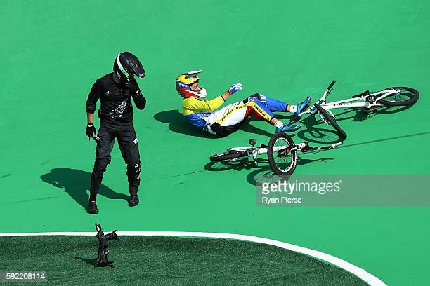 Trent Jones of New Zealand and Jefferson Milano of Venezuela crash out during the Men's BMX semi finals on day 14 of the Rio 2016 Olympic Games at...