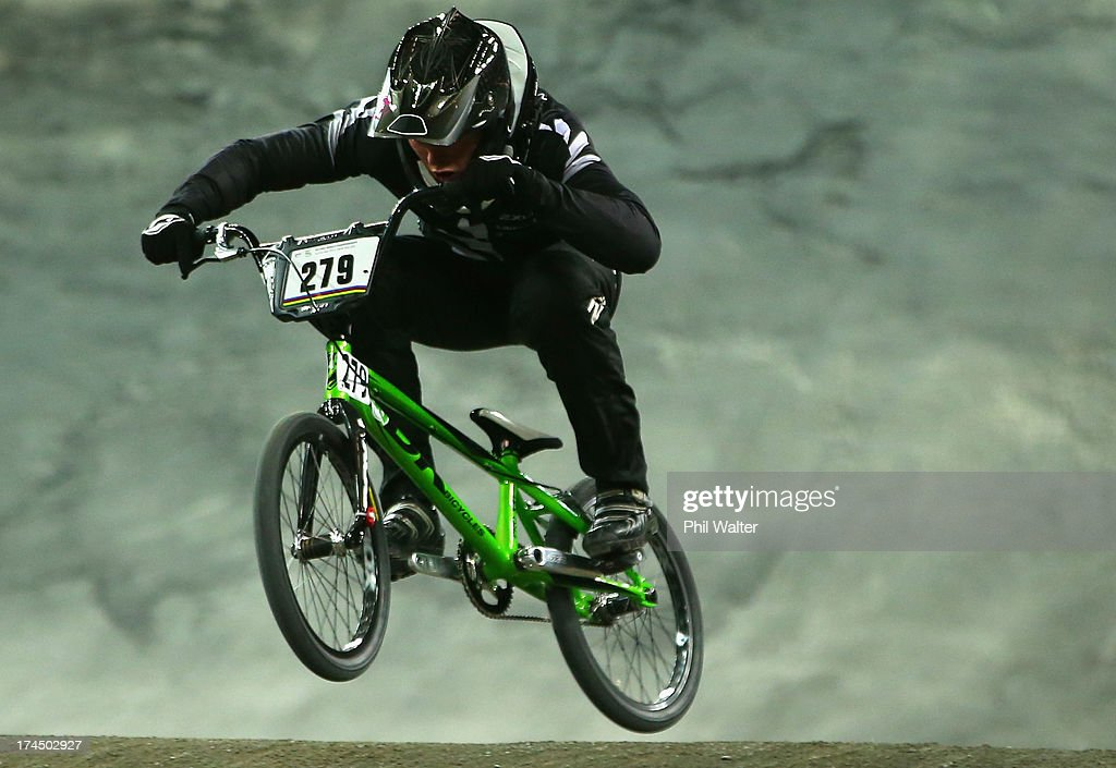 Trent Jones of New Zealand competes in the Elite Mens time trial during day four of the UCI BMX World Championships at Vector Arena on July 27, 2013 in Auckland, New Zealand.