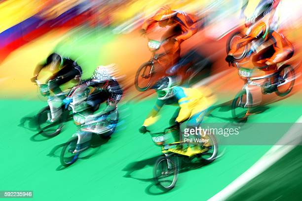 Trent Jones of New Zealand Connor Fields of the United States and Sam Willoughby of Australia compete during the Men's BMX Semi Finals on day 14 of...