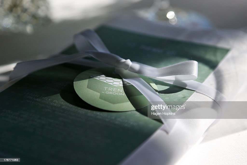 Trent Kandler's place setting sits on a table prior to the wedding reception at Martin Bosley's on August 19, 2013 in Wellington, New Zealand. Australian gay couple Paul McCarthy and Trent Kandler were flown to Wellington by Tourism New Zealand in a promotion to highlight to Australians that same-sex marriage is legal in New Zealand.