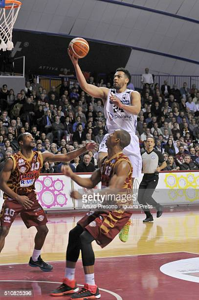 Trent Lockett of Dolomiti Energia competes with Mike Green and Josh Owens of Umana during the LegaBasket match between Reyer Umana Venezia and Aquila...