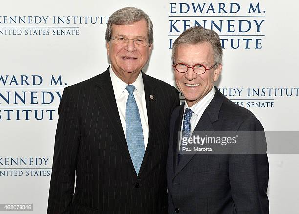 Trent Lott and Tom Daschle attends the Edward M Kennedy Institute for the US Senate Opening Night Gala and Dedication on March 29 2015 in Boston...