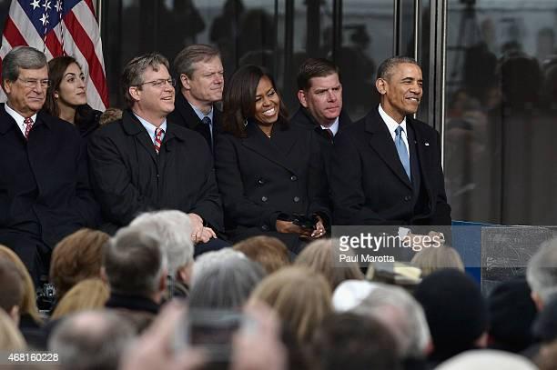 Trent Lott Edward M Kennedy Jr Charles Baker Michelle Obama Martin J Walsh and President Barack Obama attend the dedication Ceremony at Edward M...