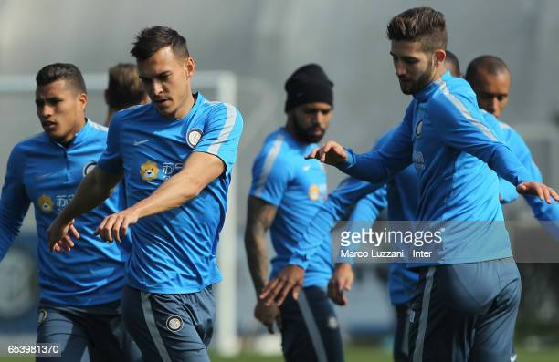 Trent Lucas Sainsbury and Roberto Gagliardini of FC Internazionale train during the FC Internazionale training session at the club's training ground...