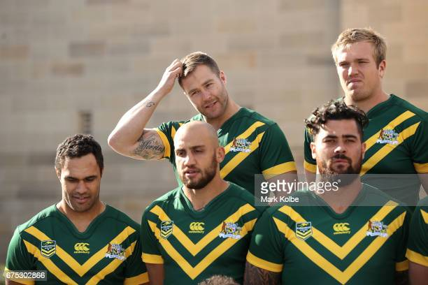 Trent Merrin and Jake Trbojevic prepare as they wait for a team photo during an Australian Kangaroos media opportunity at the Australian War Memorial...
