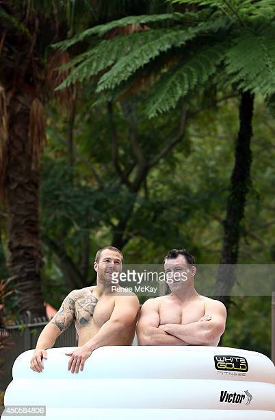 Trent Merrin and Paul Gallen share an ice bath during a New South Wales State of Origin Recovery session at Novotel Coffs Harbour on June 14 2014 in...