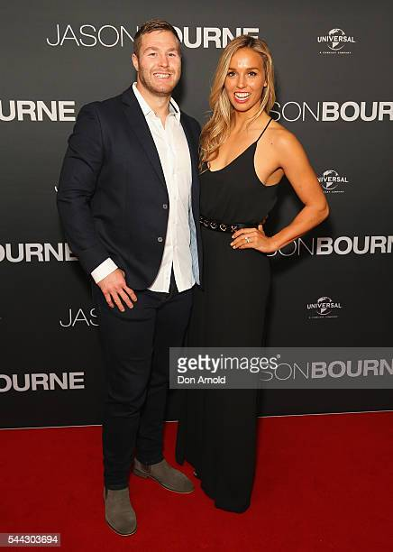 Trent Merrin and Sally Fitzgibbons arrive ahead of the Jason Bourne Australian Premiere at Hoyts Entertainment Quarter on July 3 2016 in Sydney...