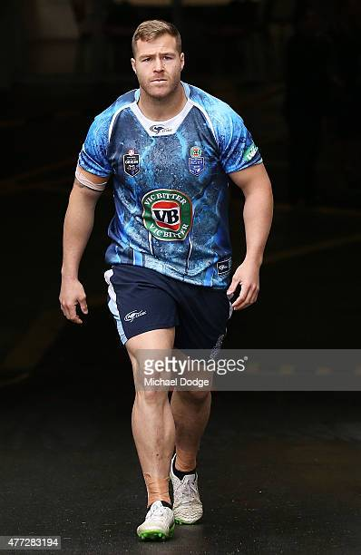 Trent Merrin is seen during a New South Wales Blues State of Origin training session at the Melbourne Cricket Ground on June 16 2015 in Melbourne...