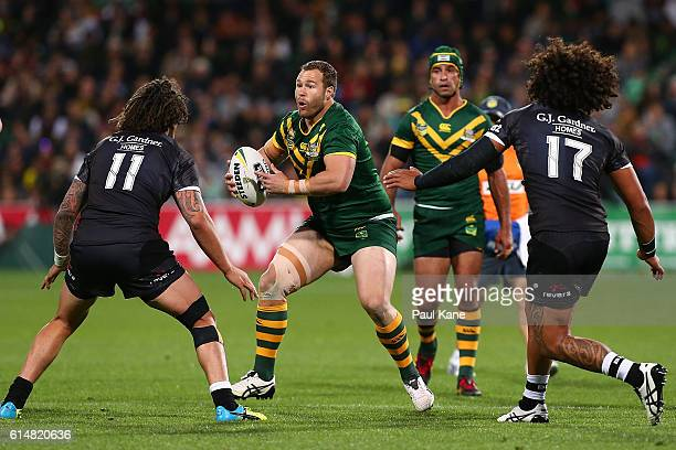 Trent Merrin of Australia looks to run the ball during the International Rugby League Test match between the Australian Kangaroos and the New Zealand...