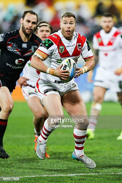 Trent Merrin of the Dragons makes a break during the round 22 NRL match between the New Zealand Warriors and the St George Illawarra Dragons at...