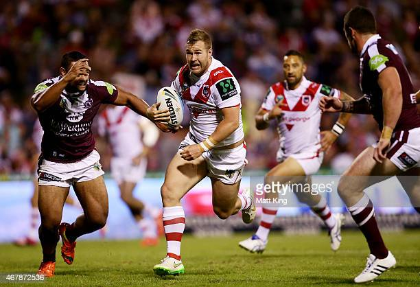 Trent Merrin of the Dragons makes a break during the round four NRL match between the St George Illawarra Dragons and the Manly Warringah Sea Eagles...