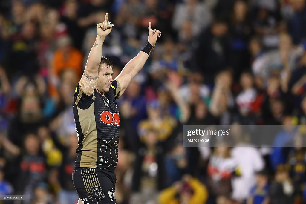 Trent Merrin of the Panthers celebrates victory during the round 19 NRL match between the Penrith Panthers and the Parramatta Eels at Pepper Stadium...
