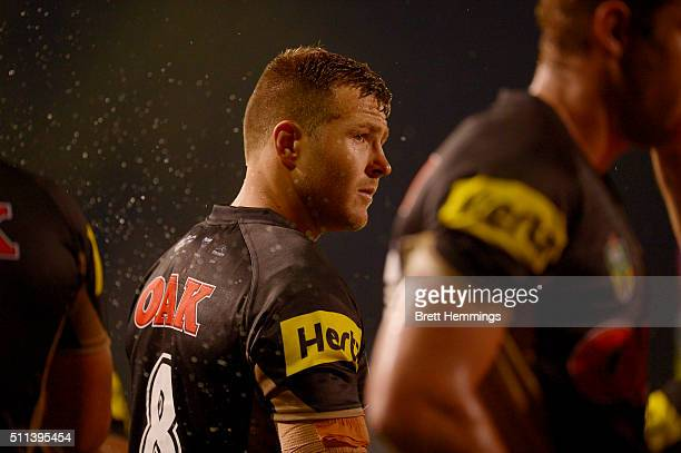 Trent Merrin of the Panthers looks on during the NRL Trial match between the Penrith Panthers and the Parramatta Eels at Pepper Stadium on February...