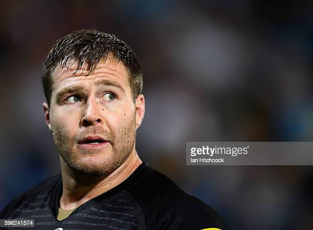 Trent Merrin of the Panthers looks on during the round 25 NRL match between the Gold Coast Titans and the Penrith Panthers at Cbus Super Stadium on...