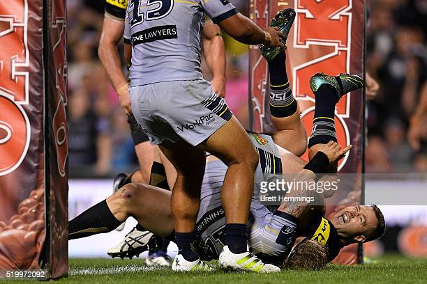 Trent Merrin of the Panthers scores a try during the round six NRL match between the Penrith Panthers and the North Queensland Cowboys at Pepper...