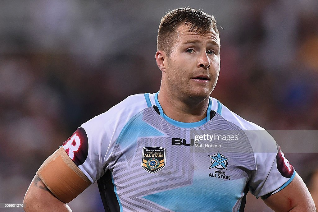 <a gi-track='captionPersonalityLinkClicked' href=/galleries/search?phrase=Trent+Merrin&family=editorial&specificpeople=5881493 ng-click='$event.stopPropagation()'>Trent Merrin</a> of the World All Stars looks on during the NRL match between the Indigenous All-Stars and the World All-Stars at Suncorp Stadium on February 13, 2016 in Brisbane, Australia.