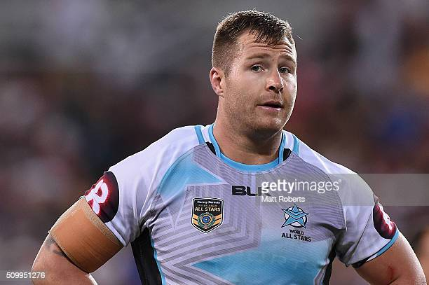 Trent Merrin of the World All Stars looks on during the NRL match between the Indigenous AllStars and the World AllStars at Suncorp Stadium on...