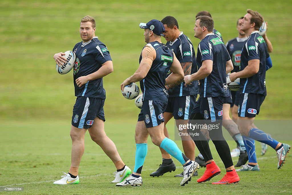 Trent Merrin runs the ball during the New South Wales Blues State of Origin team training session at the Novotel on June 11, 2015 in Coffs Harbour, Australia.
