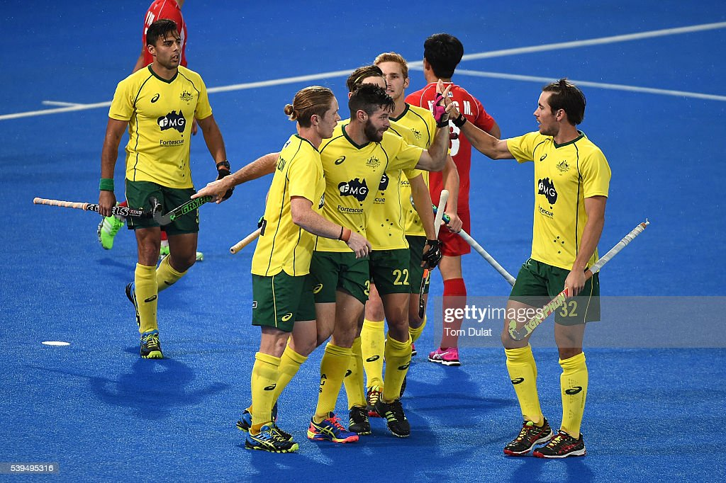 <a gi-track='captionPersonalityLinkClicked' href=/galleries/search?phrase=Trent+Mitton&family=editorial&specificpeople=5668433 ng-click='$event.stopPropagation()'>Trent Mitton</a> (C) of Australia celebrates his goal during day two of the FIH Men's Hero Hockey Champions Trophy 2016 match between Australia and Korea at Queen Elizabeth Olympic Park on June 11, 2016 in London, England.