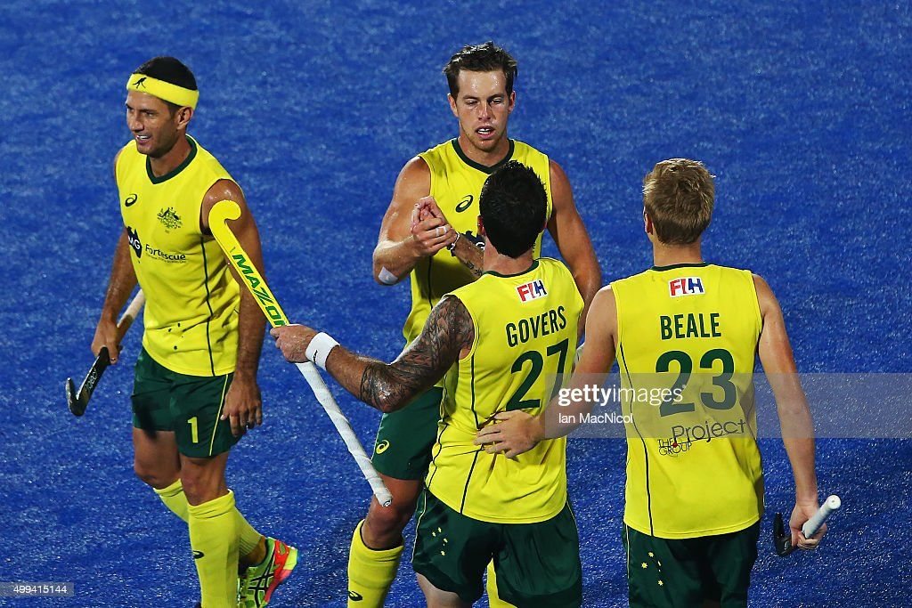 <a gi-track='captionPersonalityLinkClicked' href=/galleries/search?phrase=Trent+Mitton&family=editorial&specificpeople=5668433 ng-click='$event.stopPropagation()'>Trent Mitton</a> of Australia (25) celebrates his goal during the match between Australlia and Canada on day five of The Hero Hockey League World Final at the Sardar Vallabh Bhai Patel International Hockey Stadium on December 01, 2015 in Raipur, India.