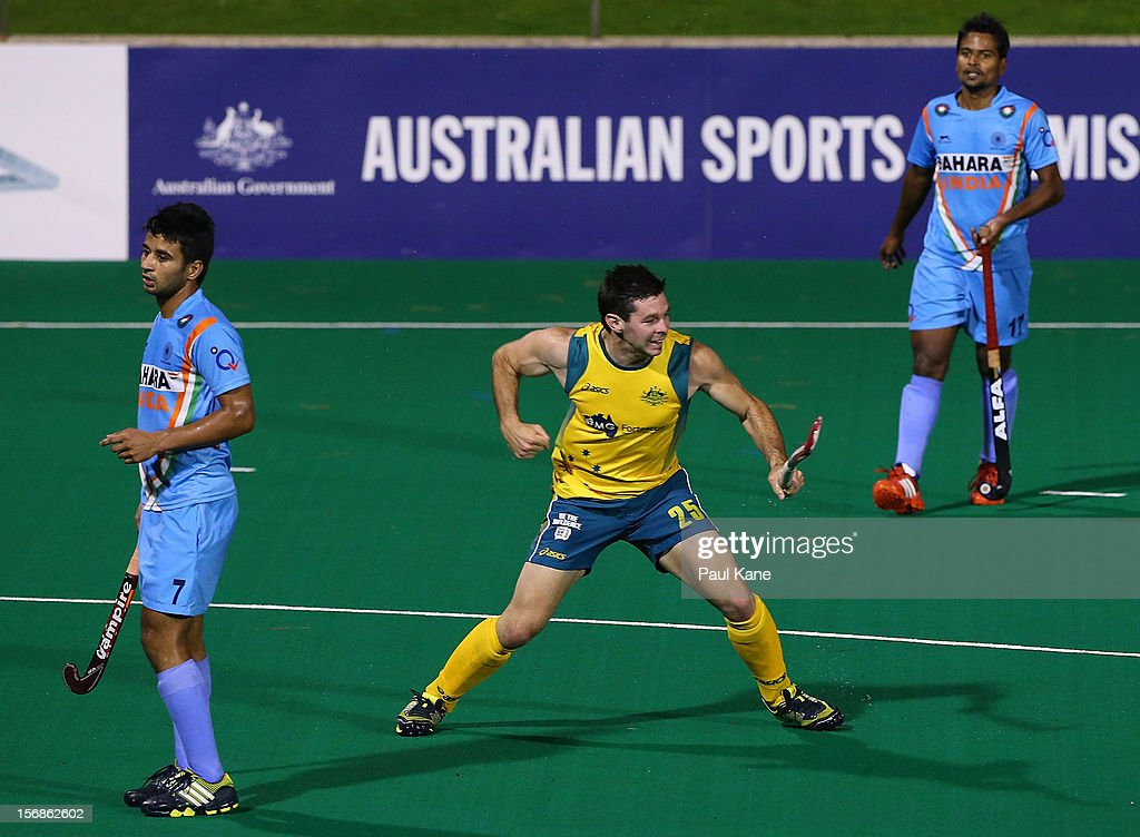 Trent Mitton of the Kookaburras celebrates scoring a goal in the mens Australia Kookaburras v India game during day two of the 2012 International Super Series at Perth Hockey Stadium on November 23, 2012 in Perth, Australia.
