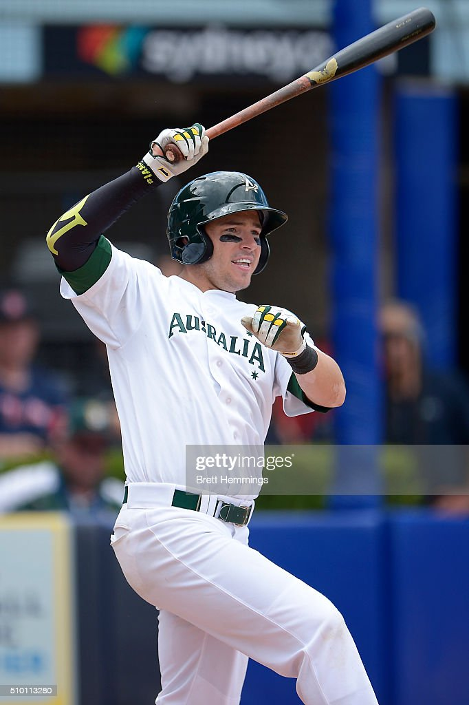Trent Oeltjen of Australia bats during the World baseball Classic Final match between Australia and South Africa at Blacktown International Sportspark on February 14, 2016 in Sydney, Australia.