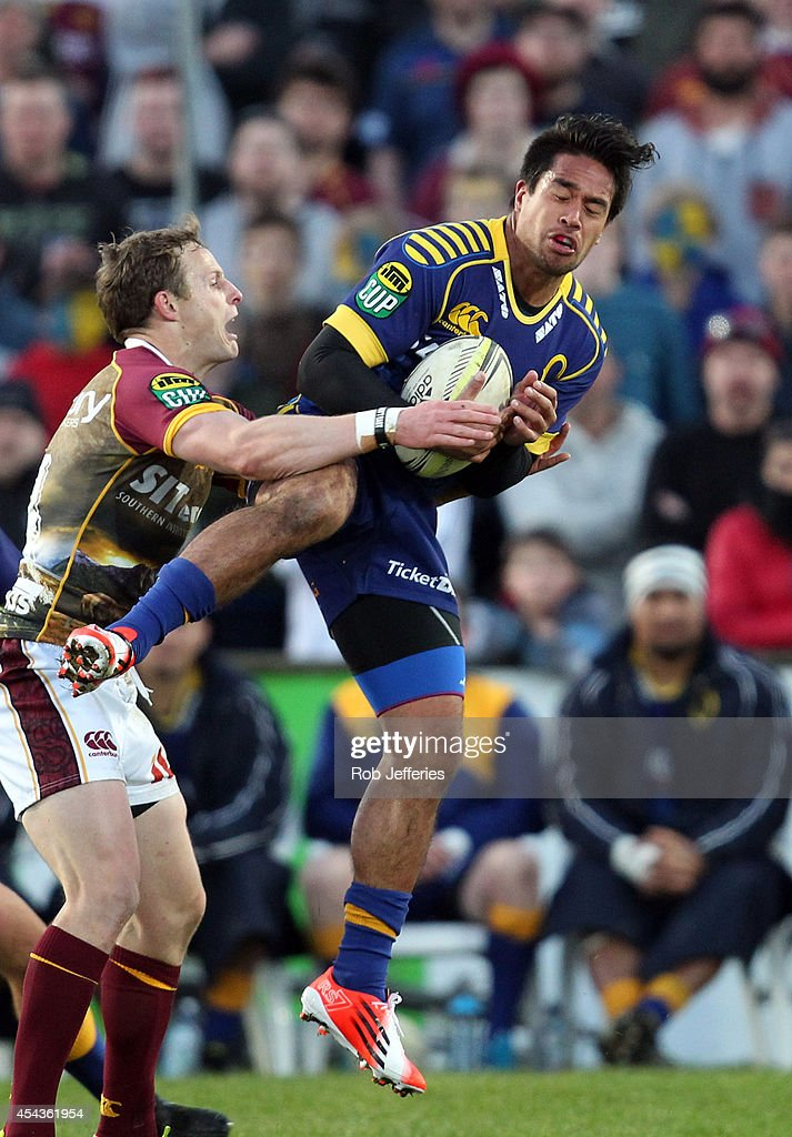 Trent Renata of Otago takes the high ball during the ITM Cup match between Southland and Otago on August 30, 2014 in Invercargill, New Zealand.