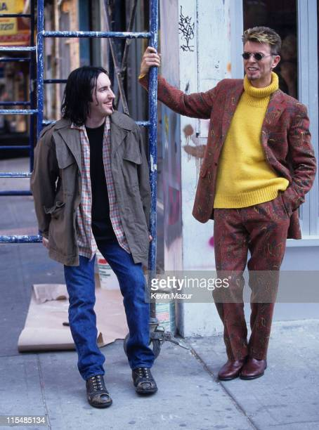 Trent Reznor and David Bowie during David Bowie Video shoot for 'I'm Afraid of Americans' in New York City New York United States